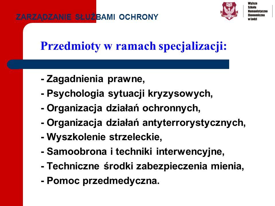 - Zagadnienia prawne, - Psychologia sytuacji kryzysowych, - Organizacja działań ochronnych, - Organizacja działań antyterrorystycznych, - Wyszkolenie