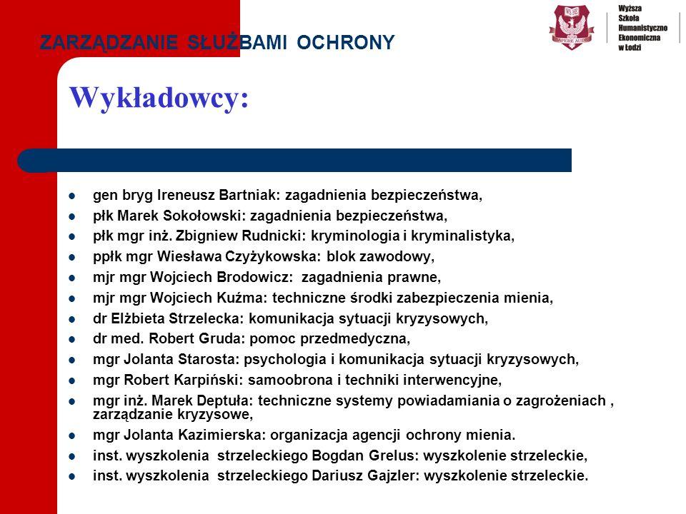 Wykładowcy: gen bryg Ireneusz Bartniak: zagadnienia bezpieczeństwa, płk Marek Sokołowski: zagadnienia bezpieczeństwa, płk mgr inż. Zbigniew Rudnicki: