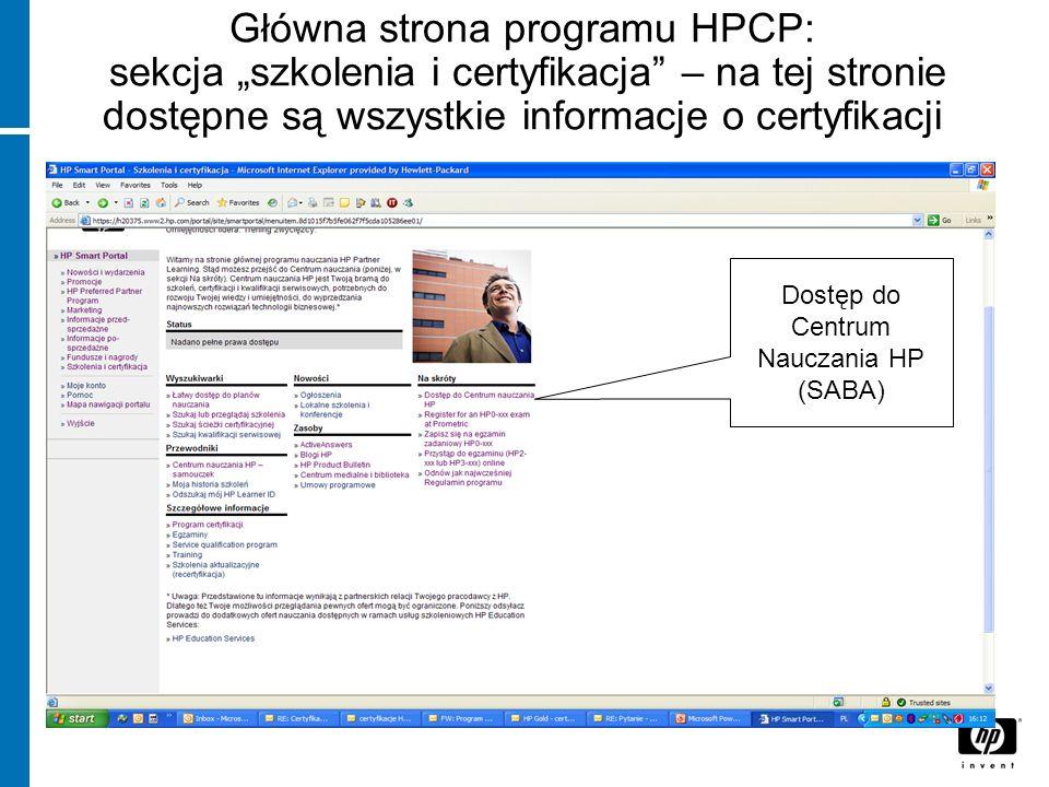 Jak korzystać z Centrum Nauczania HP.Strona główna.