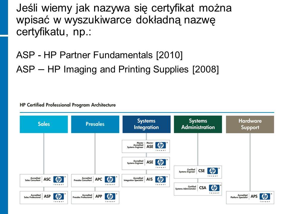 Jeśli wiemy jak nazywa się certyfikat można wpisać w wyszukiwarce dokładną nazwę certyfikatu, np.: ASP - HP Partner Fundamentals [2010] ASP – HP Imagi