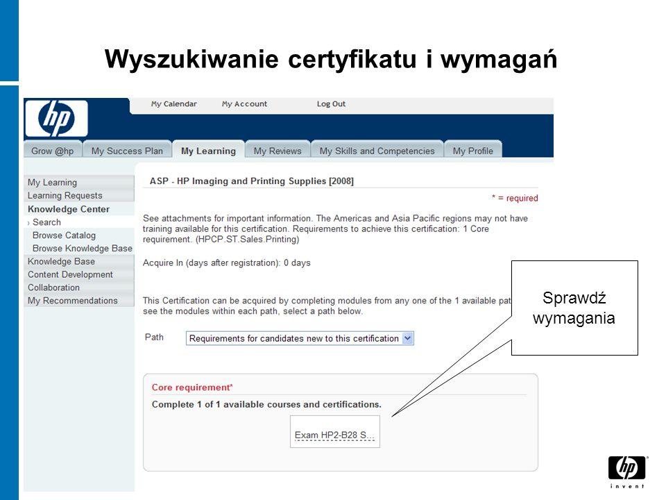 Wyszukiwanie certyfikatu i wymagań Sprawdź wymagania