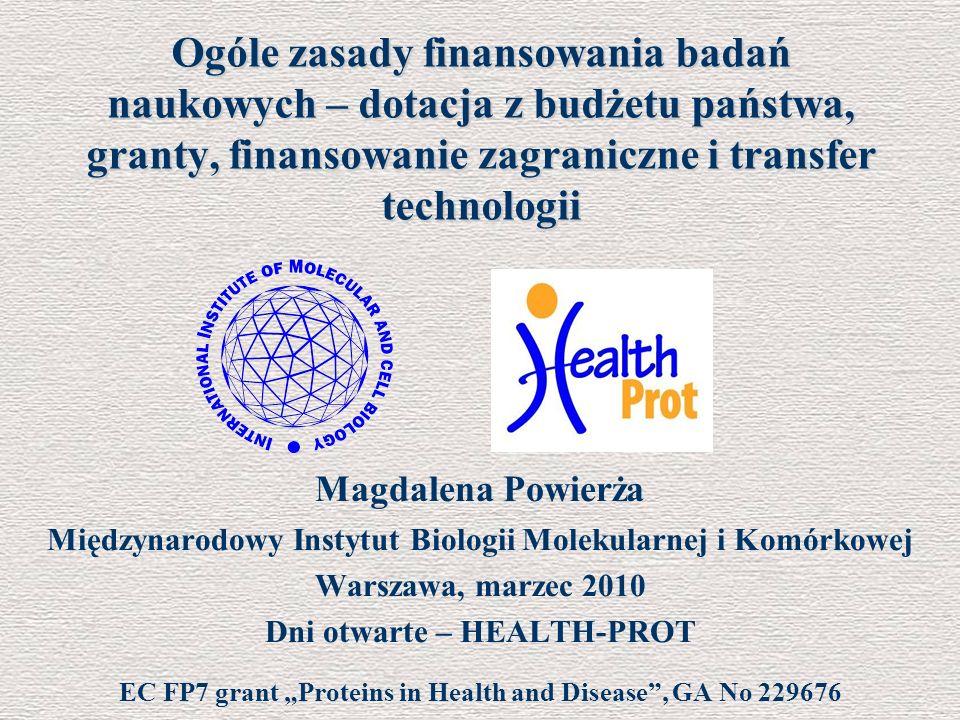 Ogóle zasady finansowania badań naukowych – dotacja z budżetu państwa, granty, finansowanie zagraniczne i transfer technologii Magdalena Powierża Międ
