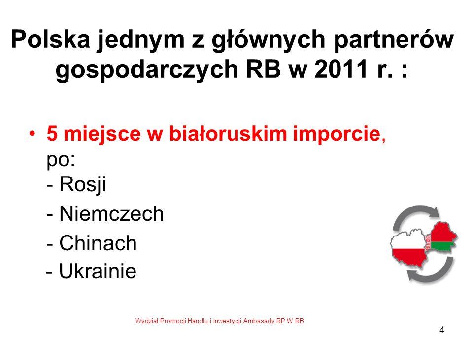 Wydział Promocji Handlu i inwestycji Ambasady RP W RB 5 Struktura polskiego eksportu wg sekcji Taryfy Celnej Maszyny i urządzenia mechaniczne; sprzęt elektryczny – 17,1% Zwierzęta żywe; produkty pochodzenia zwierzęcego – 11,7 % Tworzywa sztuczne i wyroby z nich – 9,7 % Produkty przemysłu chemicznego – 7,7% Produkty pochodzenia roślinnego – 6,6% Metale nieszlachetne i wyroby z metali nieszlachetnych –6,1% 1/1
