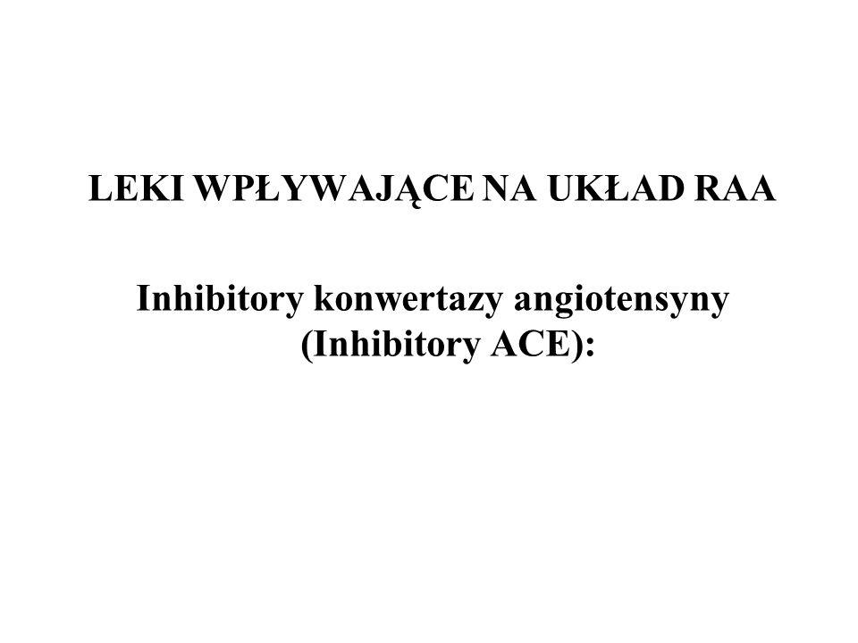 LEKI WPŁYWAJĄCE NA UKŁAD RAA Inhibitory konwertazy angiotensyny (Inhibitory ACE):