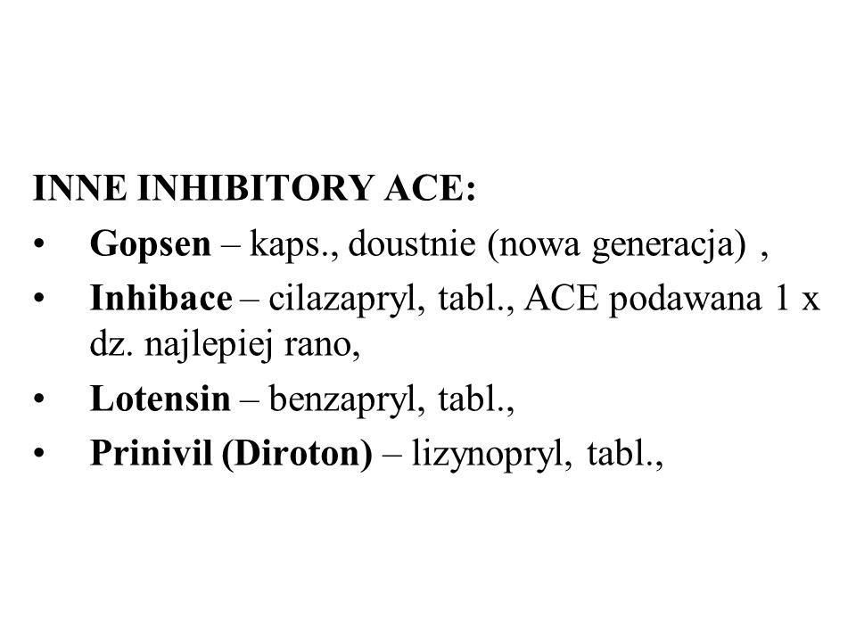 INNE INHIBITORY ACE: Gopsen – kaps., doustnie (nowa generacja), Inhibace – cilazapryl, tabl., ACE podawana 1 x dz. najlepiej rano, Lotensin – benzapry