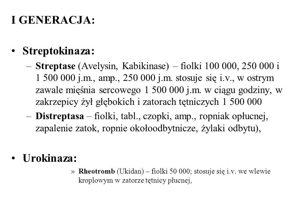 I GENERACJA: Streptokinaza: –Streptase (Avelysin, Kabikinase) – fiolki 100 000, 250 000 i 1 500 000 j.m., amp., 250 000 j.m. stosuje się i.v., w ostry