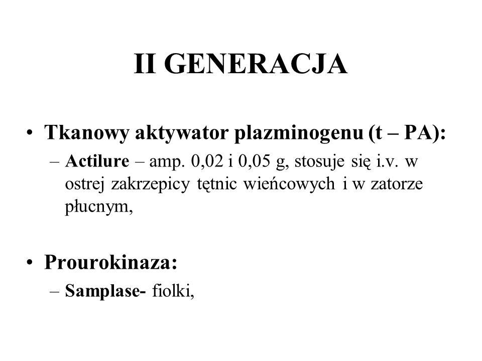 II GENERACJA Tkanowy aktywator plazminogenu (t – PA): –Actilure – amp. 0,02 i 0,05 g, stosuje się i.v. w ostrej zakrzepicy tętnic wieńcowych i w zator