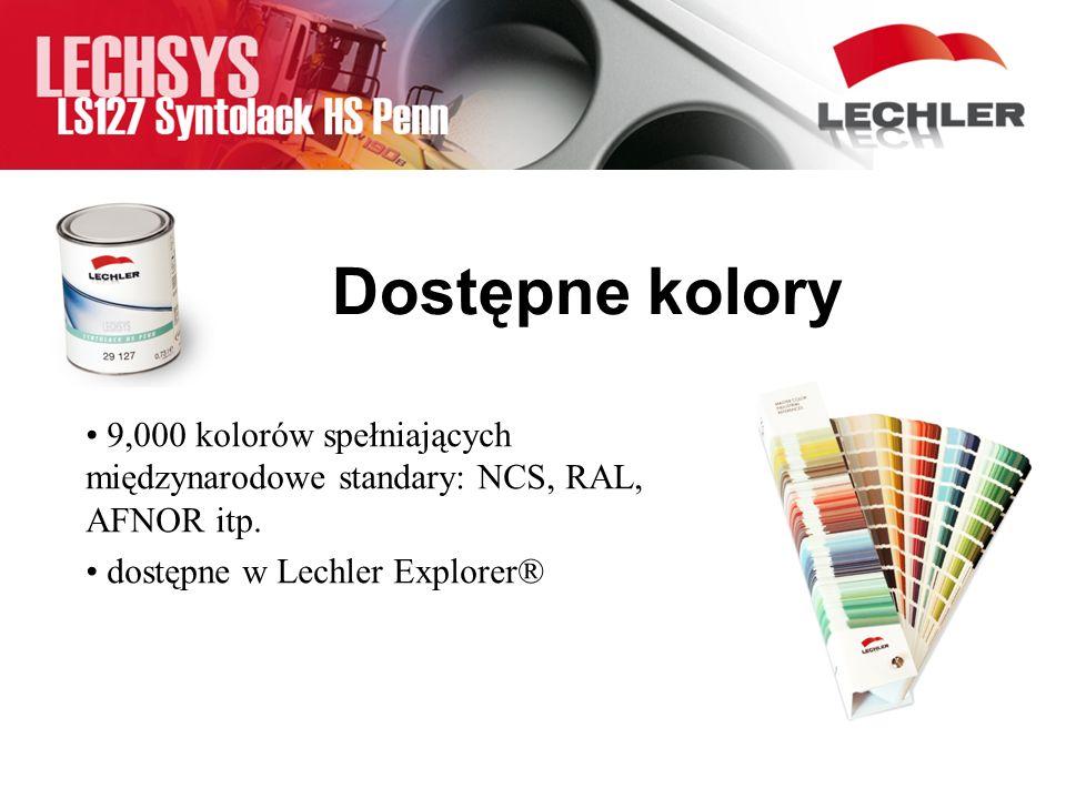 9,000 kolorów spełniających międzynarodowe standary: NCS, RAL, AFNOR itp. dostępne w Lechler Explorer® Dostępne kolory
