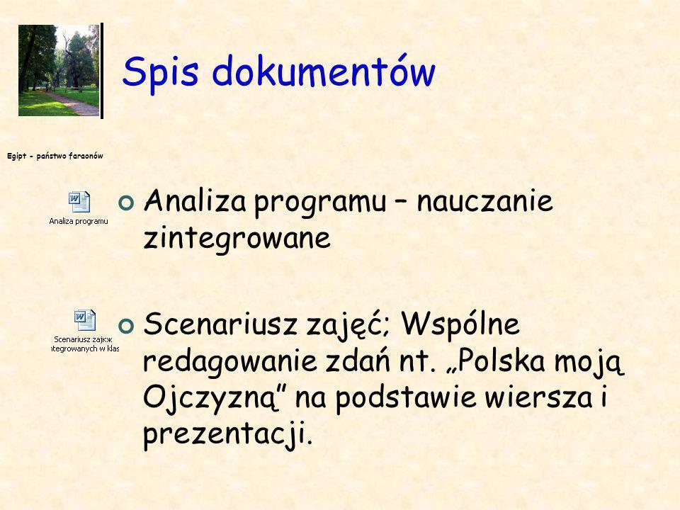 Egipt - państwo faraonów Materiały dydaktyczne Prezentacje: Moja Ojczyzna Załącznik nr 1 - mapa fizyczna Polski