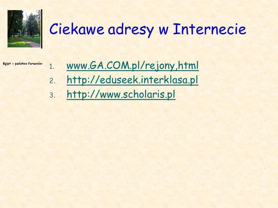 Egipt - państwo faraonów Ciekawe adresy w Internecie 1. www.GA.COM.pl/rejony,html www.GA.COM.pl/rejony,html 2. http://eduseek.interklasa.pl http://edu
