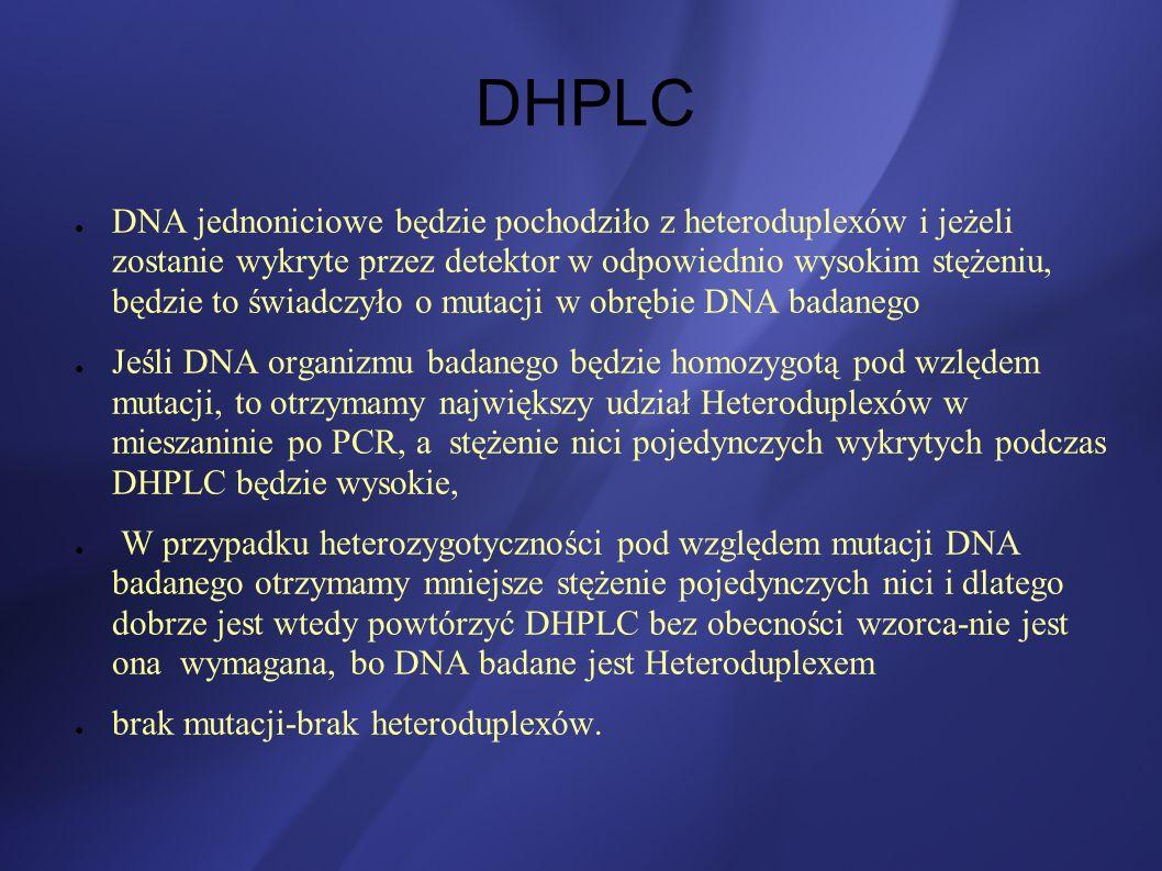 DHPLC DNA jednoniciowe będzie pochodziło z heteroduplexów i jeżeli zostanie wykryte przez detektor w odpowiednio wysokim stężeniu, będzie to świadczył