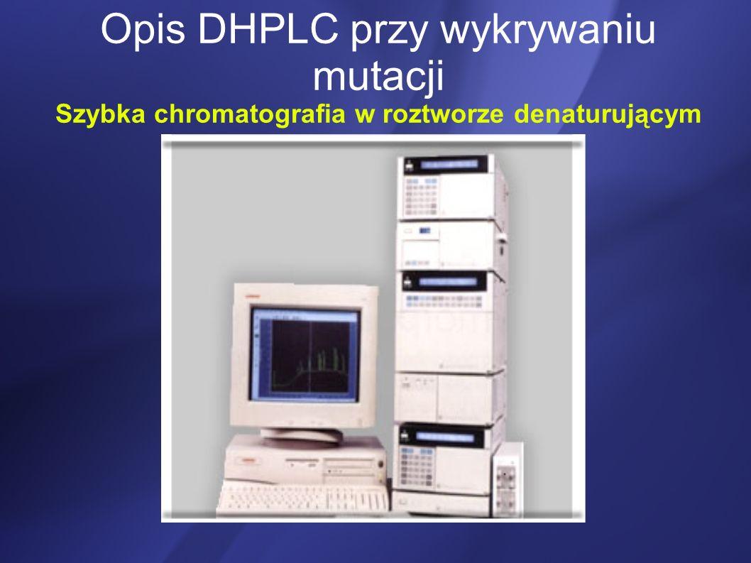 DHPLC mieszanina po reakcji PCR zawierająca DNA wzorca- niezmutowane i DNA organizmu badanego- potencjalnie obarczone mutacją) Denaturacja (podgrzanie) Renaturacja (ochłodzenie) tworzą się homo- i heteroduplexy