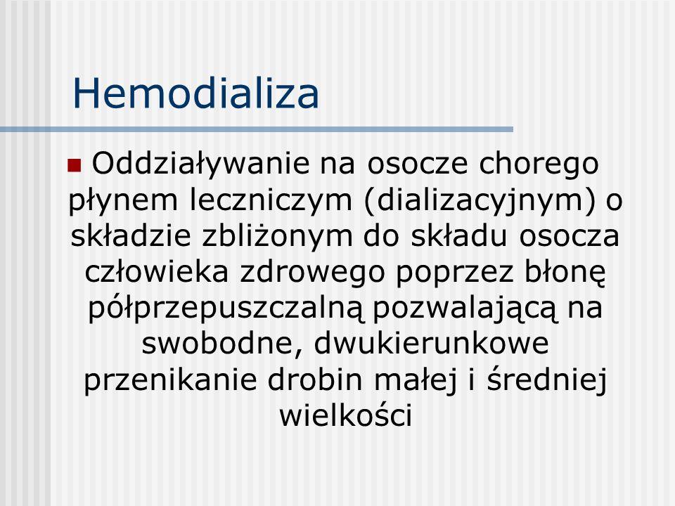 Hemodializa Oddziaływanie na osocze chorego płynem leczniczym (dializacyjnym) o składzie zbliżonym do składu osocza człowieka zdrowego poprzez błonę p