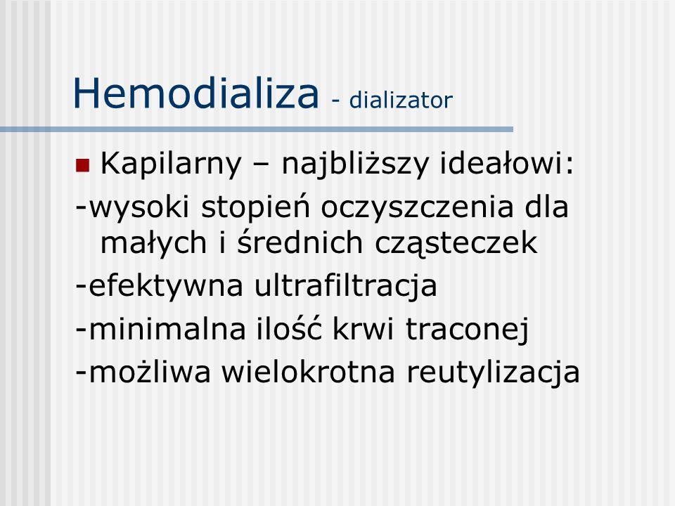 Hemodializa - dializator Kapilarny – najbliższy ideałowi: -wysoki stopień oczyszczenia dla małych i średnich cząsteczek -efektywna ultrafiltracja -min