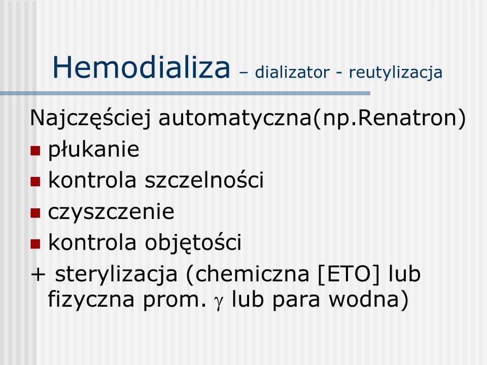 Hemodializa – dializator - reutylizacja Najczęściej automatyczna(np.Renatron) płukanie kontrola szczelności czyszczenie kontrola objętości + steryliza