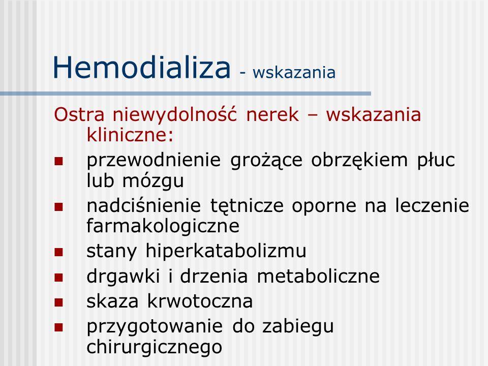 Hemodializa - wskazania Ostra niewydolność nerek – wskazania kliniczne: przewodnienie grożące obrzękiem płuc lub mózgu nadciśnienie tętnicze oporne na