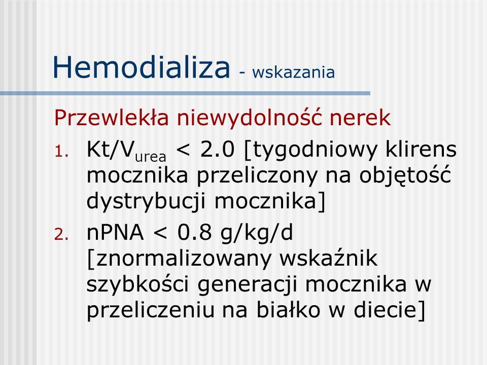Hemodializa - wskazania Przewlekła niewydolność nerek 1. Kt/V urea < 2.0 [tygodniowy klirens mocznika przeliczony na objętość dystrybucji mocznika] 2.