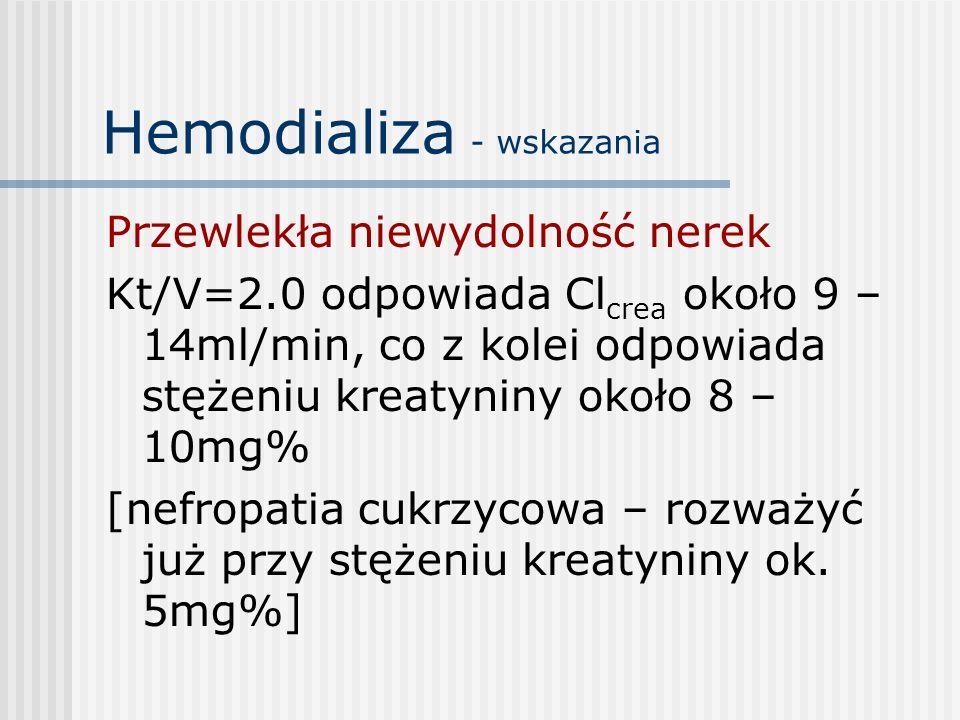 Hemodializa - wskazania Przewlekła niewydolność nerek Kt/V=2.0 odpowiada Cl crea około 9 – 14ml/min, co z kolei odpowiada stężeniu kreatyniny około 8