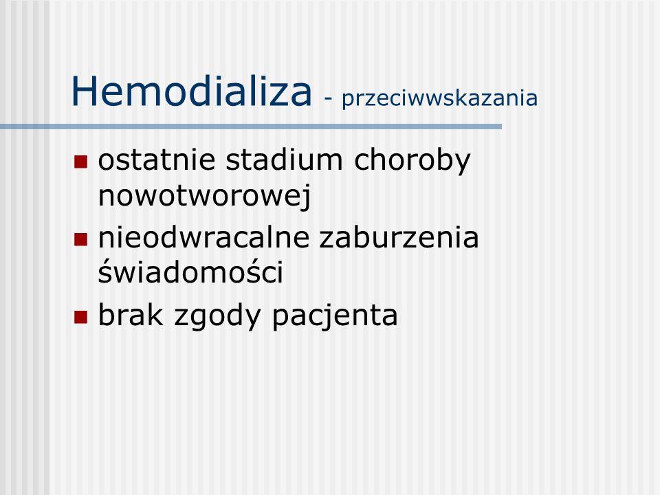 Hemodializa - przeciwwskazania ostatnie stadium choroby nowotworowej nieodwracalne zaburzenia świadomości brak zgody pacjenta