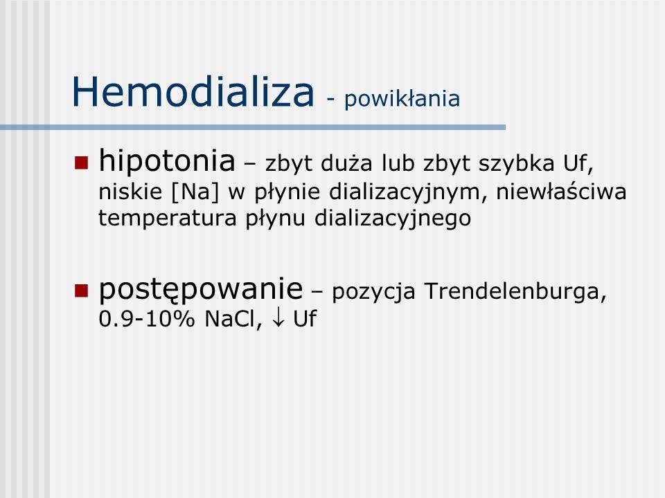 Hemodializa - powikłania hipotonia – zbyt duża lub zbyt szybka Uf, niskie [Na] w płynie dializacyjnym, niewłaściwa temperatura płynu dializacyjnego po