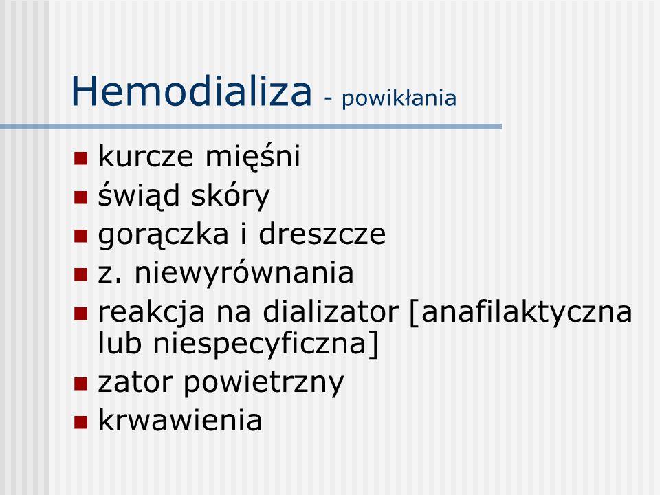 Hemodializa - powikłania kurcze mięśni świąd skóry gorączka i dreszcze z. niewyrównania reakcja na dializator [anafilaktyczna lub niespecyficzna] zato