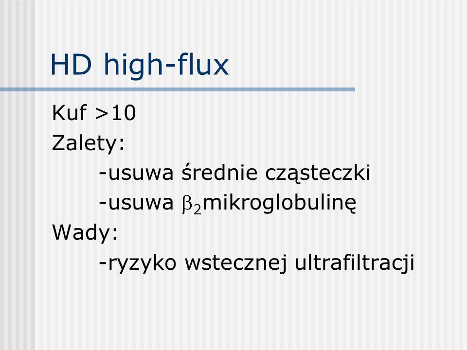 HD high-flux Kuf >10 Zalety: -usuwa średnie cząsteczki -usuwa 2 mikroglobulinę Wady: -ryzyko wstecznej ultrafiltracji