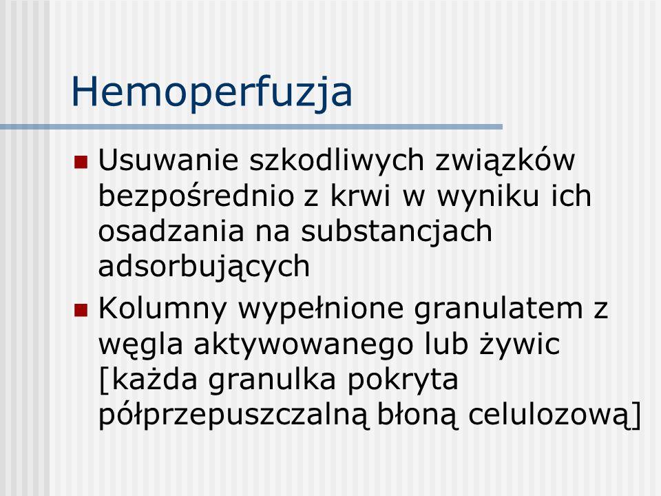 Hemoperfuzja Usuwanie szkodliwych związków bezpośrednio z krwi w wyniku ich osadzania na substancjach adsorbujących Kolumny wypełnione granulatem z wę