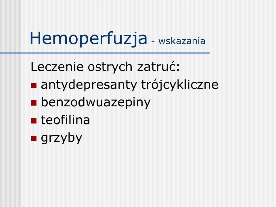 Hemoperfuzja - wskazania Leczenie ostrych zatruć: antydepresanty trójcykliczne benzodwuazepiny teofilina grzyby
