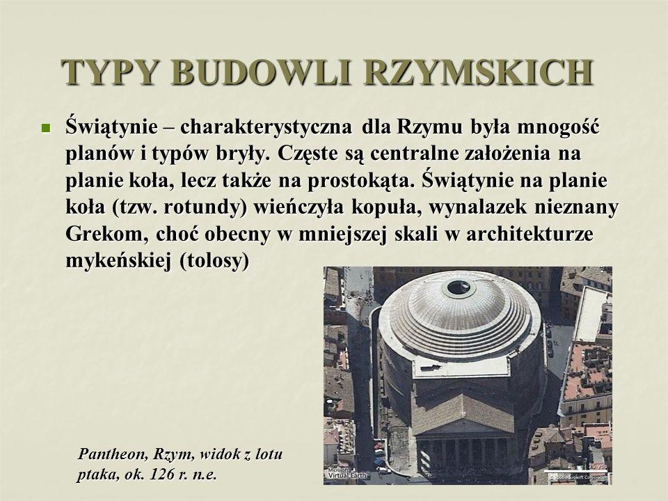 TYPY BUDOWLI RZYMSKICH Świątynie – charakterystyczna dla Rzymu była mnogość planów i typów bryły. Częste są centralne założenia na planie koła, lecz t