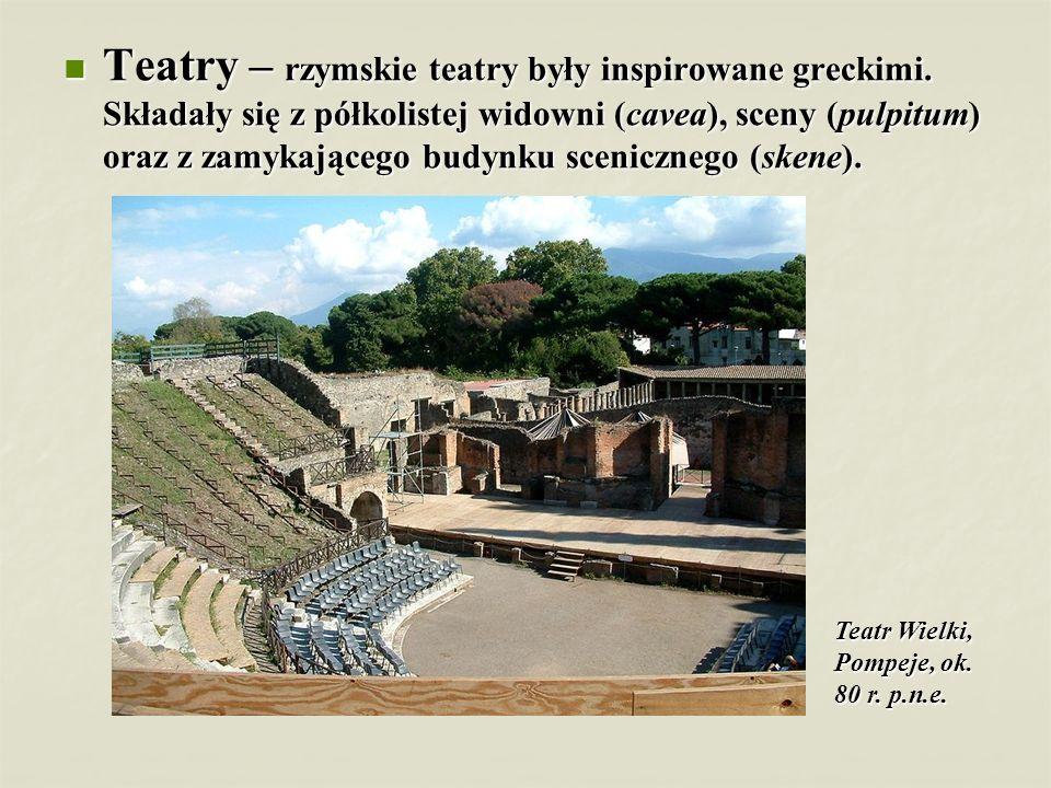Teatry – rzymskie teatry były inspirowane greckimi. Składały się z półkolistej widowni (cavea), sceny (pulpitum) oraz z zamykającego budynku sceniczne