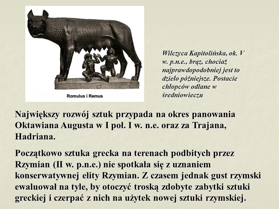 Wilczyca Kapitolińska, ok. V w. p.n.e., brąz, chociaż najprawdopodobniej jest to dzieło późniejsze. Postacie chłopców odlane w średniowieczu Największ