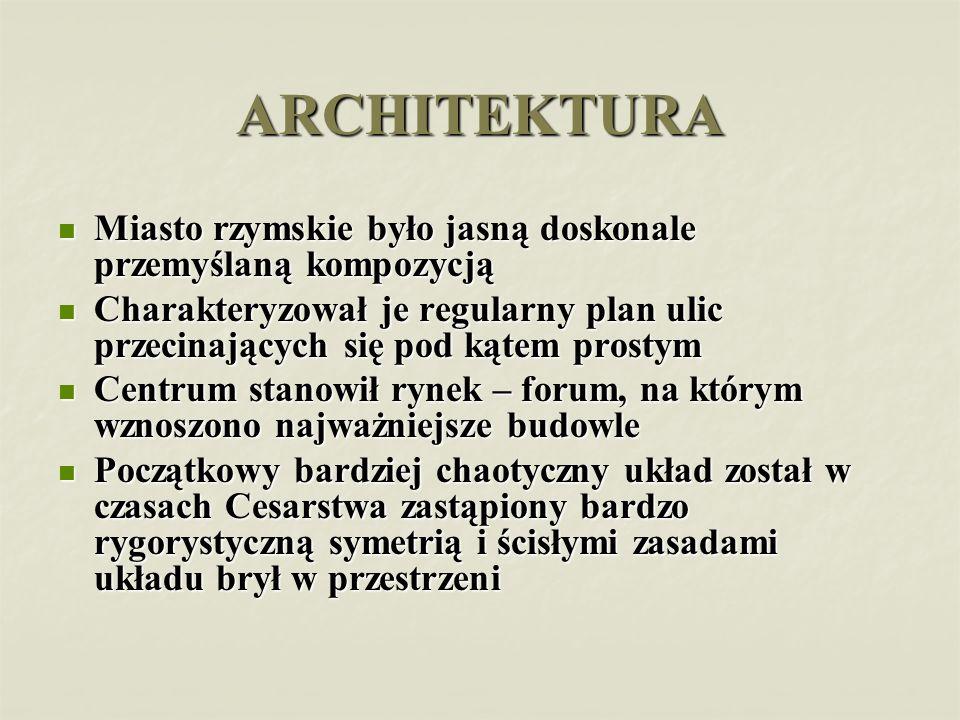 ARCHITEKTURA Miasto rzymskie było jasną doskonale przemyślaną kompozycją Miasto rzymskie było jasną doskonale przemyślaną kompozycją Charakteryzował j
