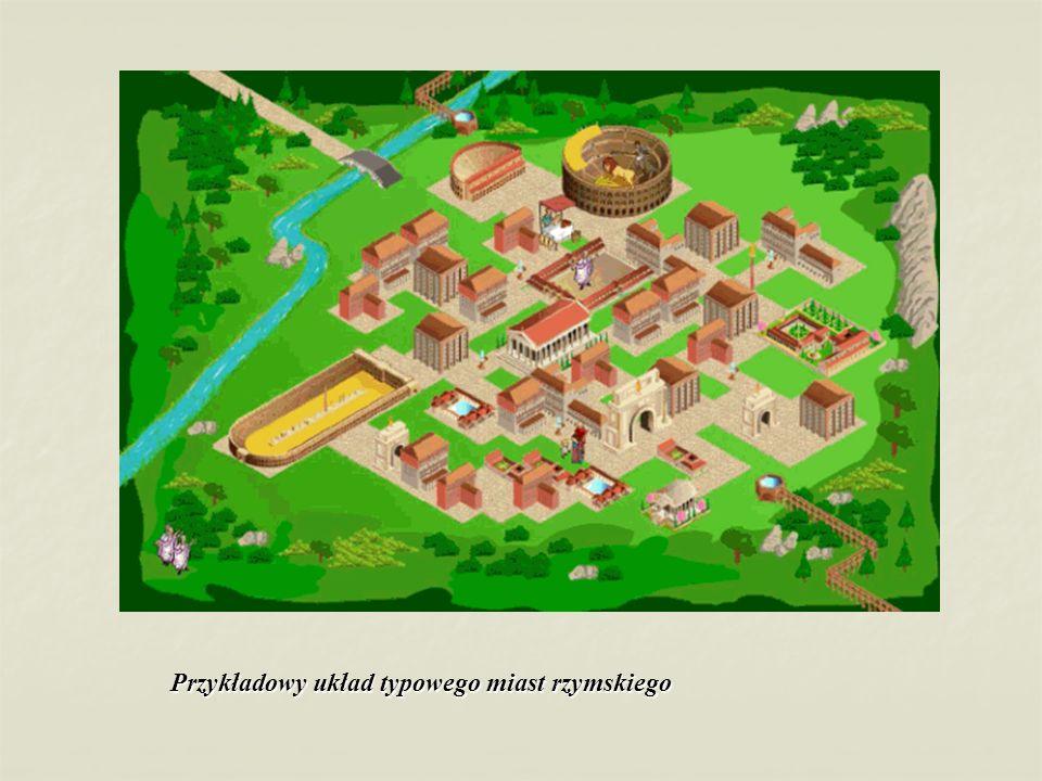 Przykłady typów budowli rzymskich, kolejno od lewej strony u góry : DomAmfiteatrHippodromTeatrŚwiątyniaTermy Łuk triumfalny Akwedukt