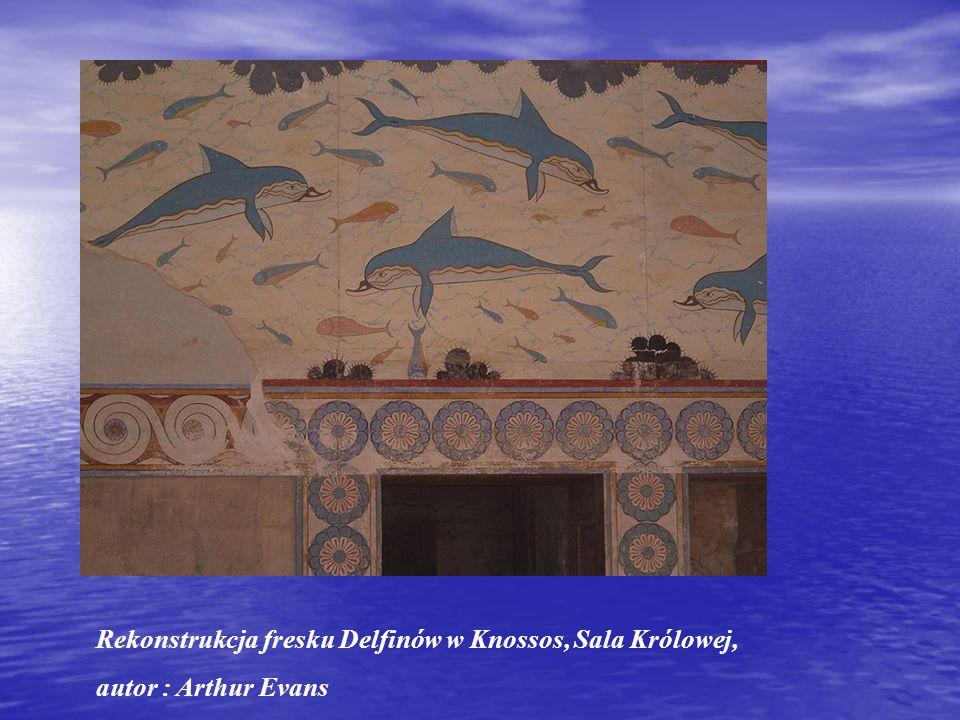 Rekonstrukcja fresku Delfinów w Knossos, Sala Królowej, autor : Arthur Evans