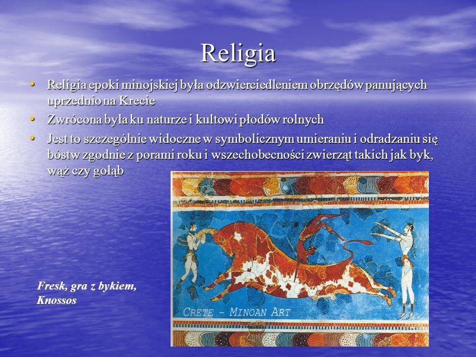 Religia Religia epoki minojskiej była odzwierciedleniem obrzędów panujących uprzednio na Krecie Religia epoki minojskiej była odzwierciedleniem obrzędów panujących uprzednio na Krecie Zwrócona była ku naturze i kultowi płodów rolnych Zwrócona była ku naturze i kultowi płodów rolnych Jest to szczególnie widoczne w symbolicznym umieraniu i odradzaniu się bóstw zgodnie z porami roku i wszechobecności zwierząt takich jak byk, wąż czy gołąb Jest to szczególnie widoczne w symbolicznym umieraniu i odradzaniu się bóstw zgodnie z porami roku i wszechobecności zwierząt takich jak byk, wąż czy gołąb Fresk, gra z bykiem, Knossos