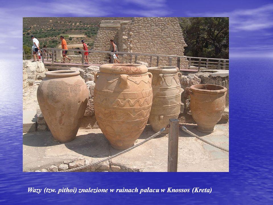 Wazy (tzw. pithoi) znalezione w ruinach pałacu w Knossos (Kreta)