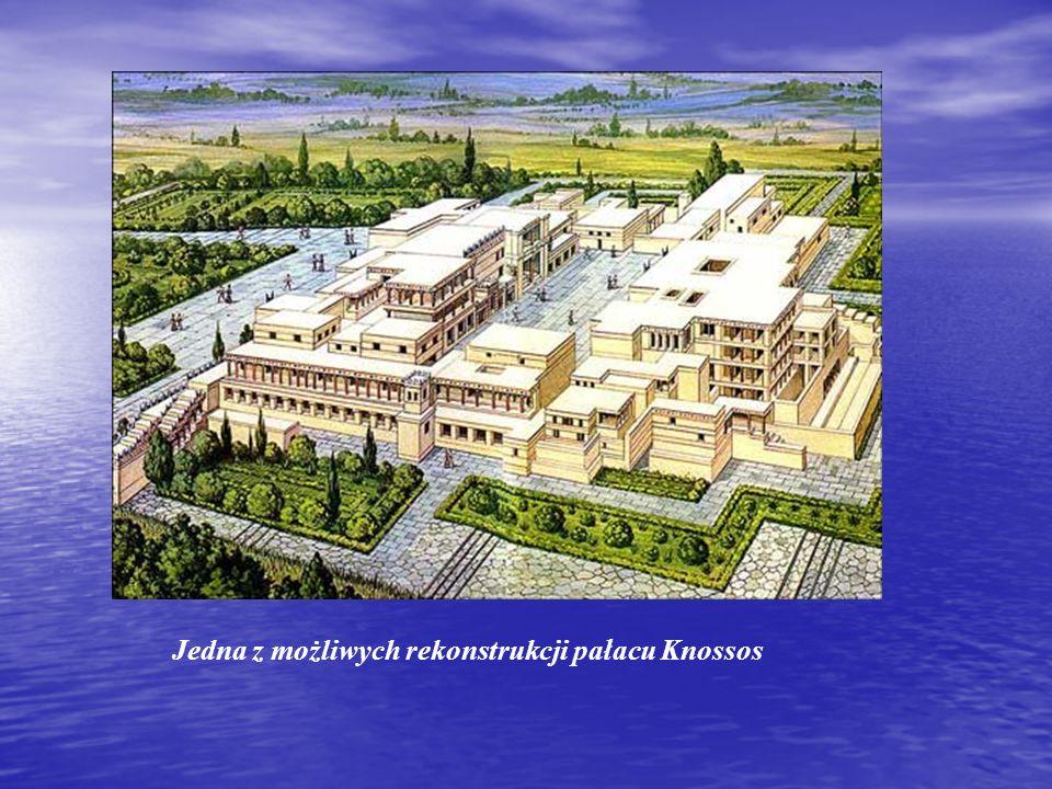 Stylistyka Wielki dziedziniec poprzedza wejście do pałacu Wielki dziedziniec poprzedza wejście do pałacu Plan pałacu wydaje się być mitycznym labiryntem, lecz w efekcie jest jasno przemyślaną logiczną konstrukcją Plan pałacu wydaje się być mitycznym labiryntem, lecz w efekcie jest jasno przemyślaną logiczną konstrukcją Pałac w Knossos był nie tylko siedzibą władcy, lecz także centrum kulturalno-religijnym, siedzibą władz oraz spichlerzem miasta Pałac w Knossos był nie tylko siedzibą władcy, lecz także centrum kulturalno-religijnym, siedzibą władz oraz spichlerzem miasta Pałac posiadał dwa i więcej poziomów Pałac posiadał dwa i więcej poziomów Sala tronowa z rekonstrukcją fresków o żywych kolorach i tematyce animalistycznej