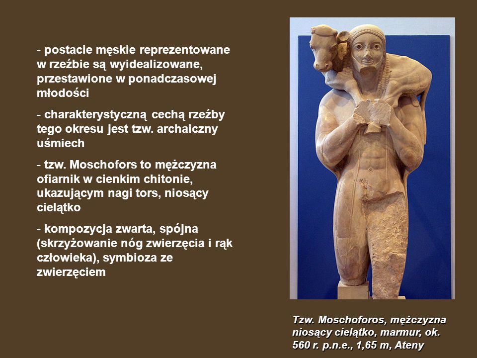 Tzw. Moschoforos, mężczyzna niosący cielątko, marmur, ok. 560 r. p.n.e., 1,65 m, Ateny - postacie męskie reprezentowane w rzeźbie są wyidealizowane, p