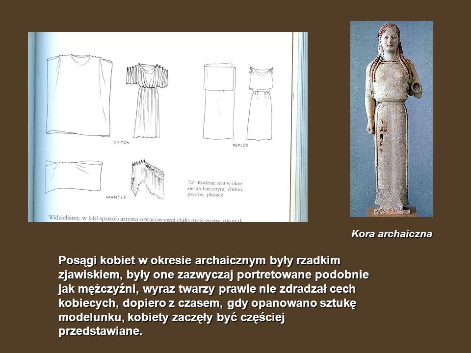 Posągi kobiet w okresie archaicznym były rzadkim zjawiskiem, były one zazwyczaj portretowane podobnie jak mężczyźni, wyraz twarzy prawie nie zdradzał