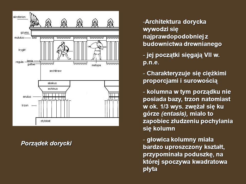 Porządek dorycki -Architektura dorycka wywodzi się najprawdopodobniej z budownictwa drewnianego - jej początki sięgają VII w. p.n.e. - Charakteryzuje