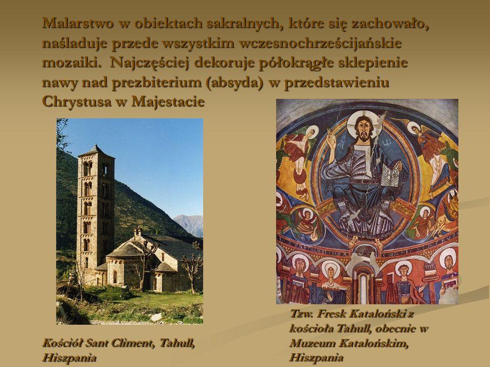 Malarstwo w obiektach sakralnych, które się zachowało, naśladuje przede wszystkim wczesnochrześcijańskie mozaiki. Najczęściej dekoruje półokrągłe skle