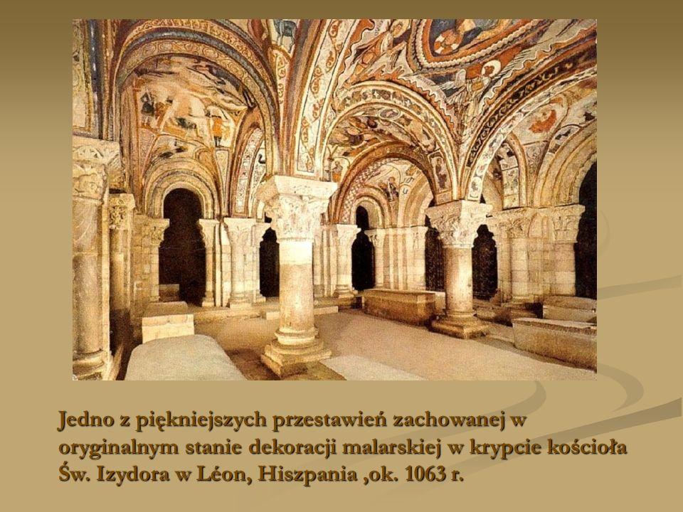 Jedno z piękniejszych przestawień zachowanej w oryginalnym stanie dekoracji malarskiej w krypcie kościoła Św. Izydora w Léon, Hiszpania,ok. 1063 r.