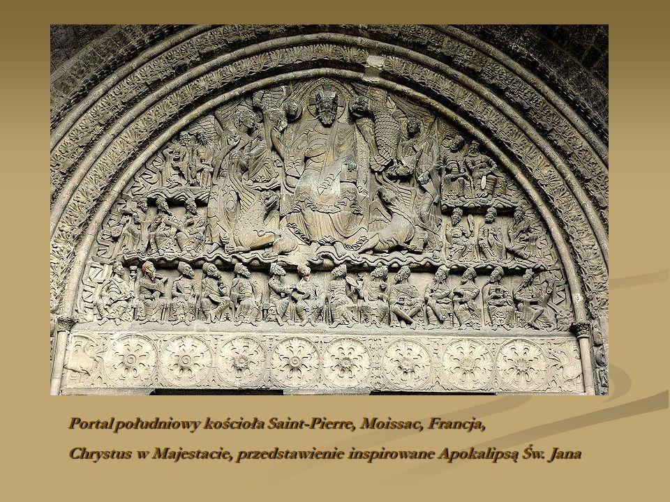 Portal południowy kościoła Saint-Pierre, Moissac, Francja, Chrystus w Majestacie, przedstawienie inspirowane Apokalipsą Św. Jana
