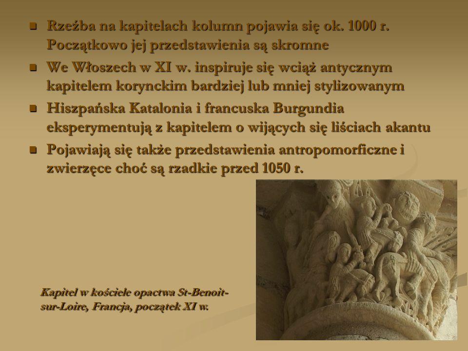 Rzeźba na kapitelach kolumn pojawia się ok. 1000 r. Początkowo jej przedstawienia są skromne Rzeźba na kapitelach kolumn pojawia się ok. 1000 r. Począ