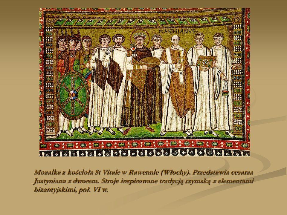 Mozaika z kościoła St Vitale w Rawennie (Włochy). Przedstawia cesarza Justyniana z dworem. Stroje inspirowane tradycją rzymską z elementami bizantyjsk