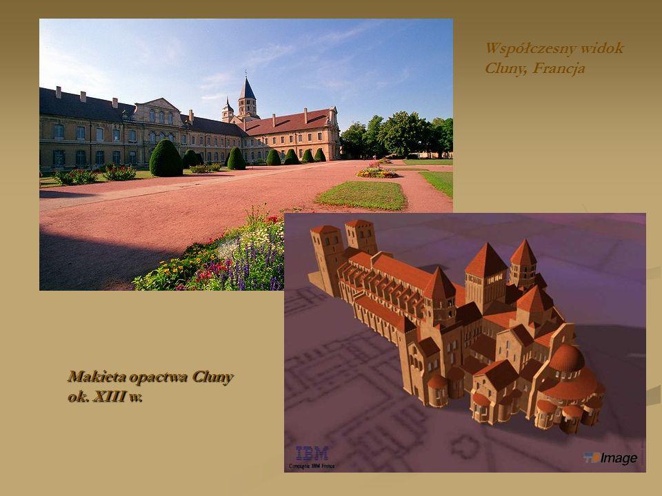 Makieta opactwa Cluny ok. XIII w. Współczesny widok Cluny, Francja