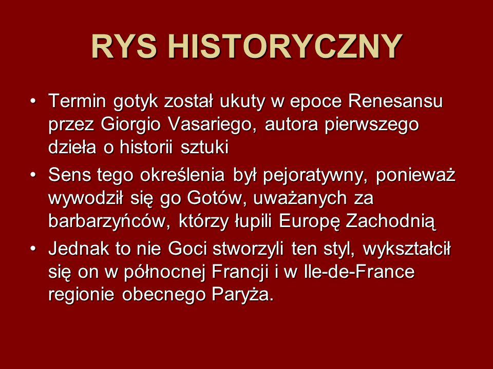 RYS HISTORYCZNY Termin gotyk został ukuty w epoce Renesansu przez Giorgio Vasariego, autora pierwszego dzieła o historii sztukiTermin gotyk został uku