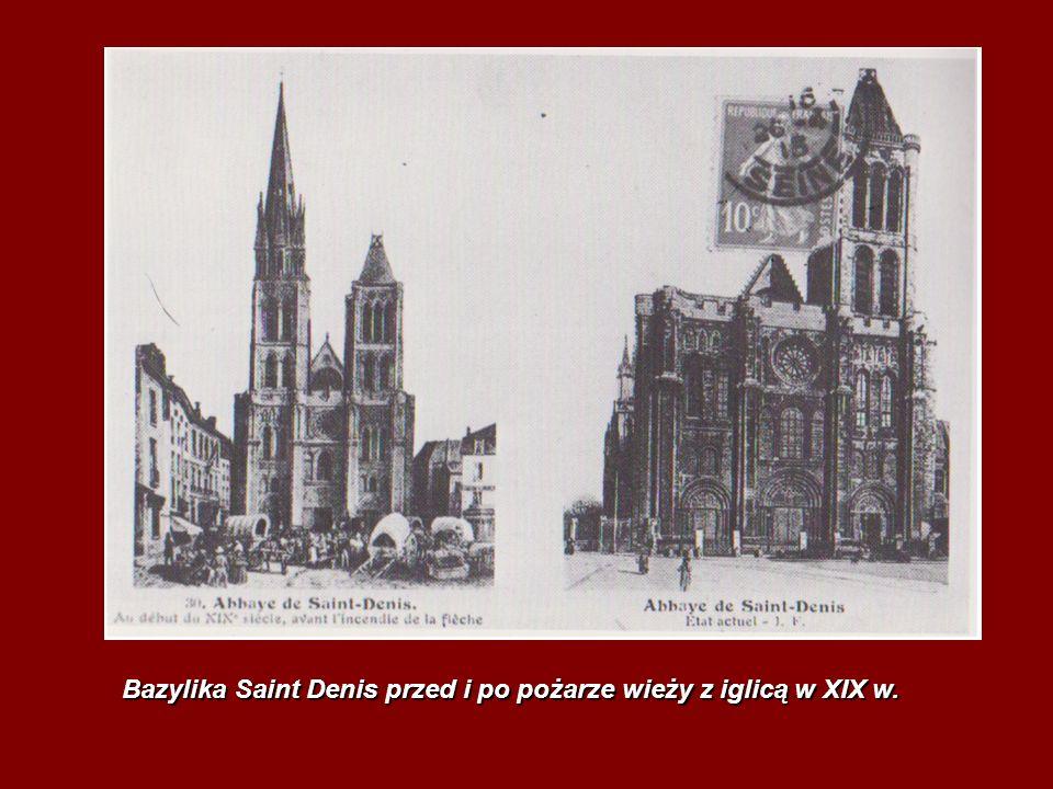 Bazylika Saint Denis przed i po pożarze wieży z iglicą w XIX w.