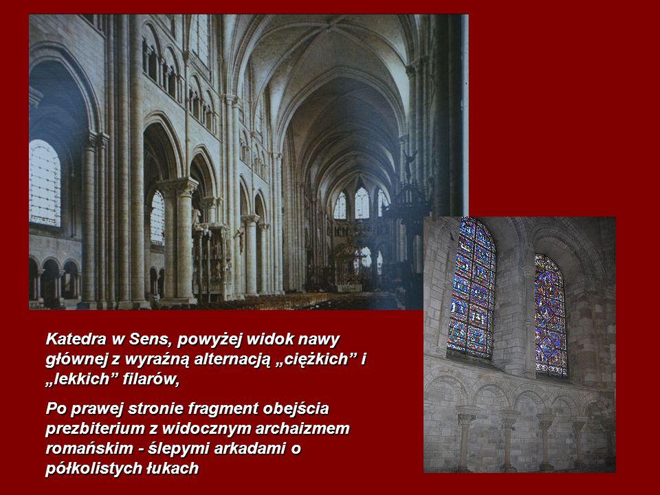 Katedra w Sens, powyżej widok nawy głównej z wyraźną alternacją ciężkich i lekkich filarów, Po prawej stronie fragment obejścia prezbiterium z widoczn