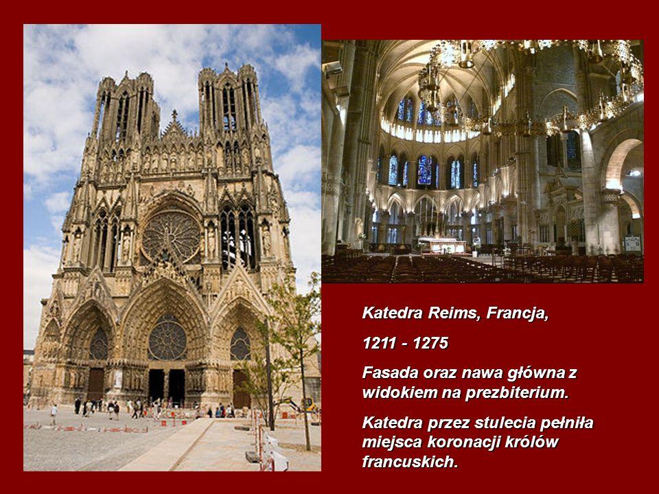 Katedra Reims, Francja, 1211 - 1275 Fasada oraz nawa główna z widokiem na prezbiterium. Katedra przez stulecia pełniła miejsca koronacji królów francu